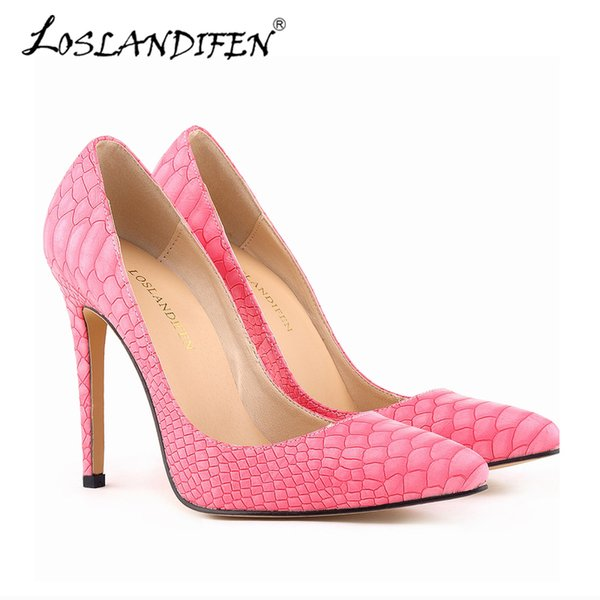 Dress Shoes Promotions Fashion Women Pumps Pointed Toe Office Dress High Heels Pumps Snake Pattern Rose Wedding Pumps 38 Size