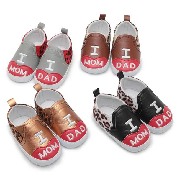 Primavera neonato bambino leopardo stampato lettera antiscivolo morbida suola scarpe casual marca PU pelle Baby ragazzi ragazze bambino scarpe