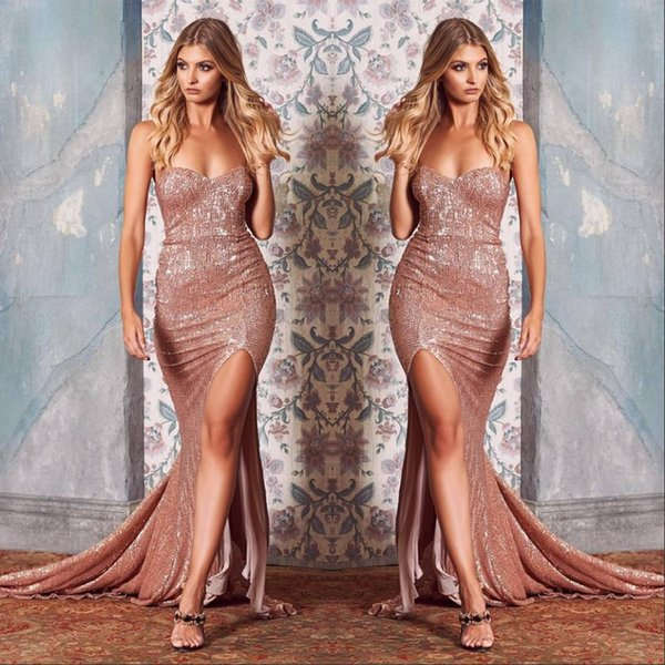 2019 Sexy Front Split Sequined Mermaid Evening Dresses Sweetheart Neckline Prom Party Gowns Formal Occasion Dresses