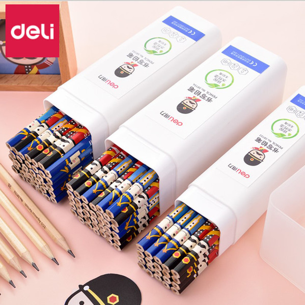 Deli Pupils Pencils Students Writing Art Painting Sketching Wooden Lead Pencil Hexagonal Penholder HB/2B Pencil Writing Supplies