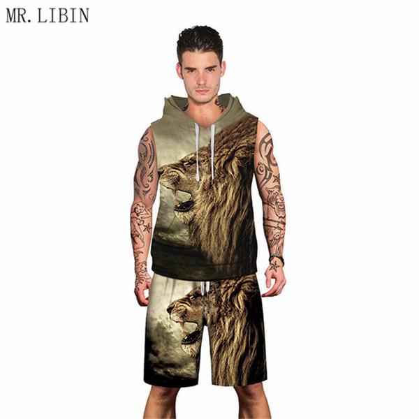 6b767bc451d9 LIBIN Lion Майка с капюшоном с пляжными шортами Summer 2 Pieces Set мужские  повседневные