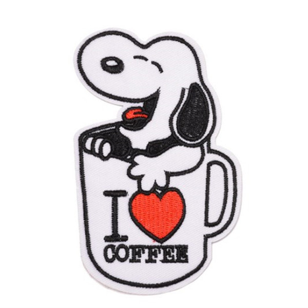 Cute Dog Snoopy Coffee Iron on Embroidered cartoon patch Shirt Kids Gift baby shirt bag trousers coat Decorate