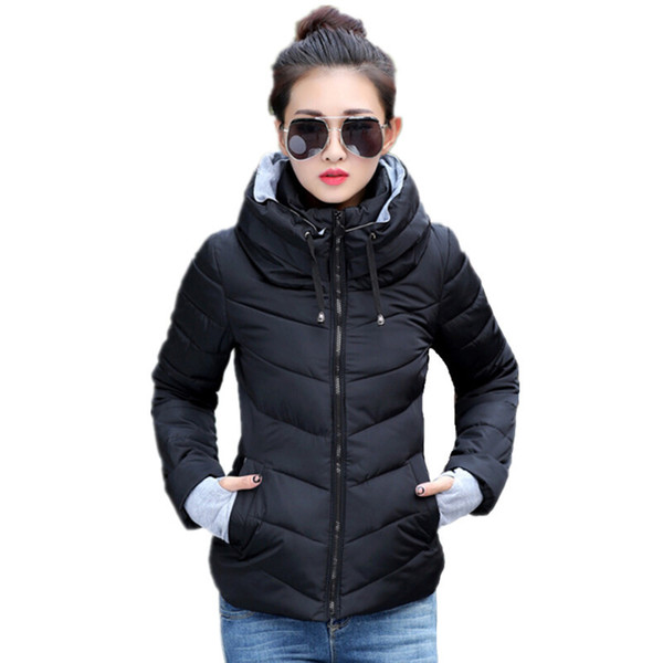 2019 Winter Jacket Women Plus Size Womens Parkas Thicken Outerwear Solid Hooded Coats Short Female Slim Cotton Padded Basic Tops J190403