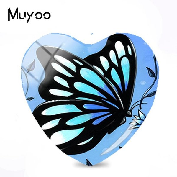 2019 New Selling Butterfly Painting Glass Cabochon Butterflies And Flowers Heart Cabochons Handmade Jewelry For Women