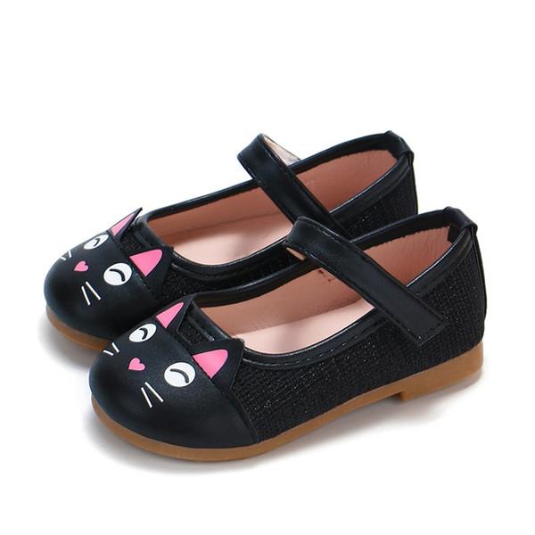 Zapatos de fiesta planos para niñas Zapatos para niños pequeños Niños de dibujos animados Zapatos de princesa de cuero de PU