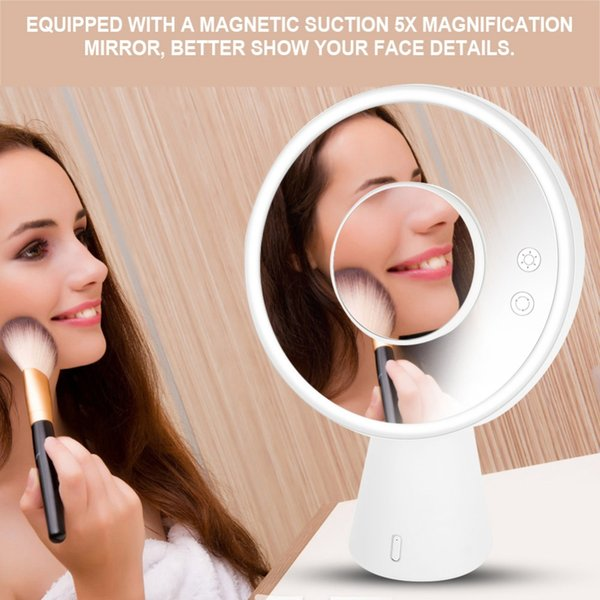 Multifunctional LED Light  Mirror Tabletop Touch Screen Bluetooth Audio Table Lamp Light Vanity Make up Mirror 3