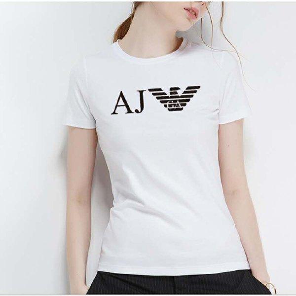 Verão das mulheres de manga curta T-shirt de algodão de manga curta T-shirt impresso com letra em torno do pescoço respirável T-shirt