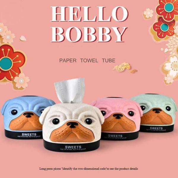Tissue Box Cartoon Bobby Dog Tissue Cover Holder Wheat Fiber PP Storage Paper Facial Organizer