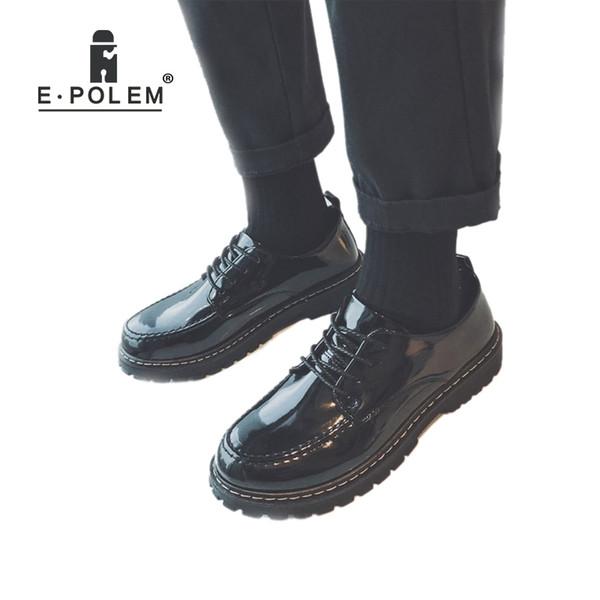 Chaussures de sport occasionnelles en cuir de printemps / automne pour hommes à semelle augmentée Semelle de cuir verni Oxford brillant noir