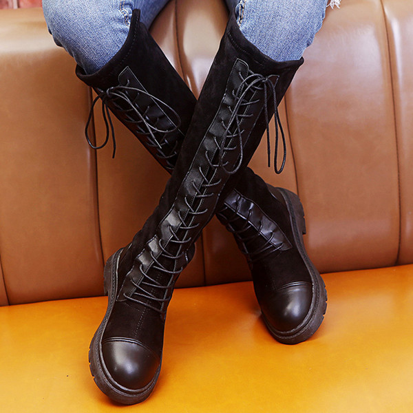 gothic shoes boots leather military boots Women's Fashion Solid Lace-Up Knee-high Flat Heels Knight Boots Shoes