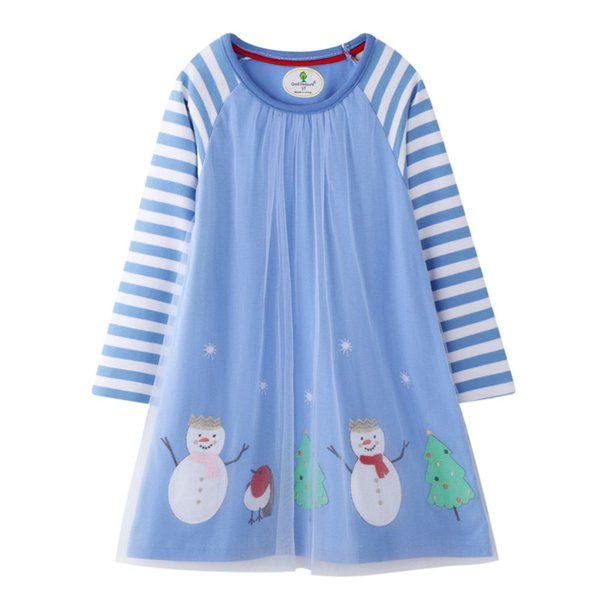 Christmas Girl Dresses Long Sleeves Santa Clause Xmas Tree Costumes For Kids Baby Clothes 100% Cotton Dresses 18Months-6 T Clothing 2019