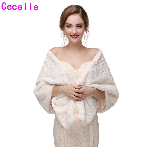 New Beige Colored Winter Bridal Faux Fur Wraps Bridesmaid Beige Faux Fur Shawl For Wedding Party Adult Beige Winter Fur Wrap High Quality