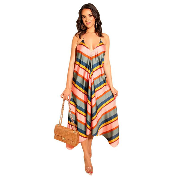 Mulheres Praia das férias de verão vestido listrado com decote em V Correia de espaguetes longas Maxi Vestidos