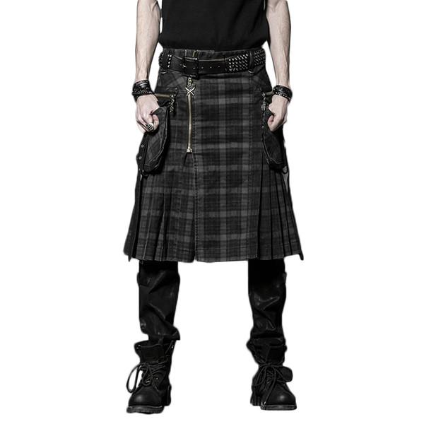 Brown Gothic Punk Scottish Kilt Costume Double Pockets Men Skirts Belt Lattice Plait Skirts Bilateral Pocket Chain Skirts T2190614