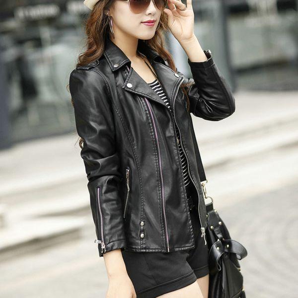 Women Leather Jacket Motorcycle Leather Jacket Black Slim High Quality PU Leather Jacket Women Coat Veste Cuir 19SS