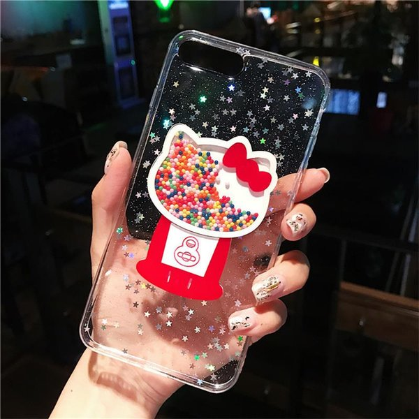 YunRT Glitter Bling Star clear Phone Case pour iPhone XS MAX XR X 7 8 6 6s Plus Bonjour Kitty Ice Cream Quicksand Retour Couverture Capa