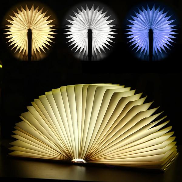 Rechargeable Folding Book Light Desk Table Bedside Lamp Warm White Bedroom Decor Lighting USB Night Lights