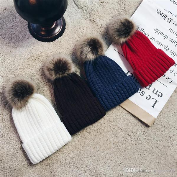 Women's Fashion Knitted Cap Autumn Winter Men Cotton Warm Hat CC Skullies Brand Heavy Hair Ball Twist Beanies Solid Color Wool,L4