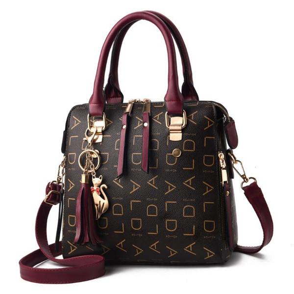 2019 Novo Dropshipping Boston Bag Mulheres De Couro Em Relevo Mensageiro Lidar Com Sacos de Ombro Com Zip Crossbody Bag Bolsa Bolsas