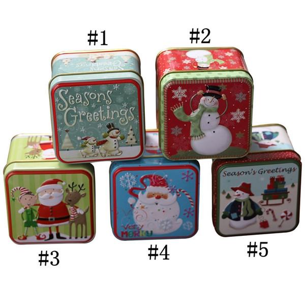 Noel Mini Teneke Kutu Noel Şeker Boxs Küçük Depolama Kapları Ambalaj Mühürlü Kavanoz Para Küpe Takı Hediye Kılıf HH9-A2562