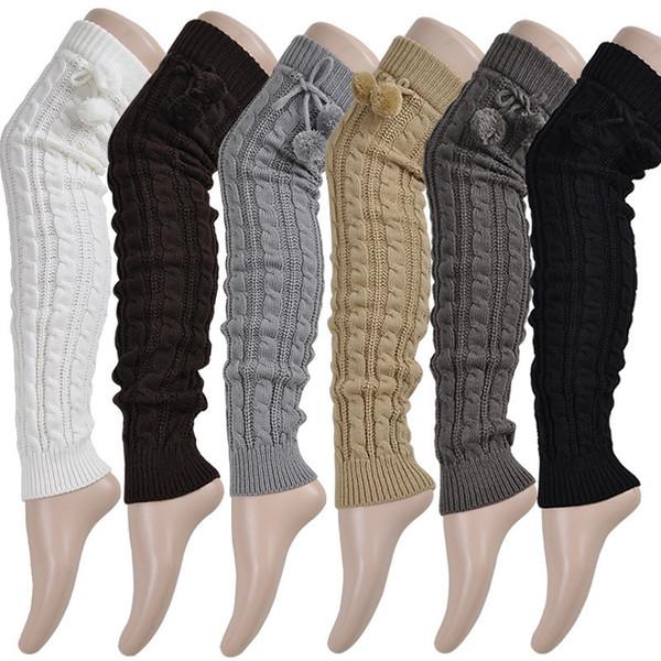Knit Braid Ball Over Knee Long Socks Stocking Boot Loose Leg Warmers for Women Drop Ship 2019