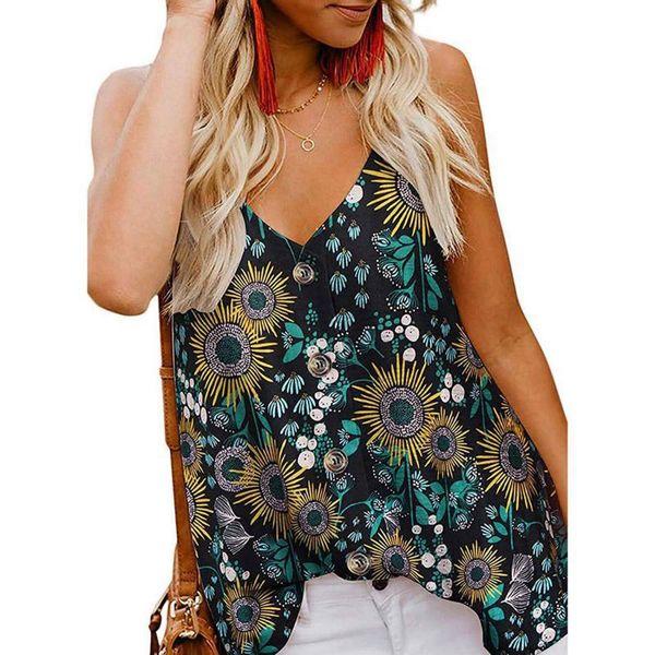 Chiffon Open Back Button Sleeveless Blouses 2019 Women's Summer New Fashion Printing Large Size Shirt V-neck Sling Blouse