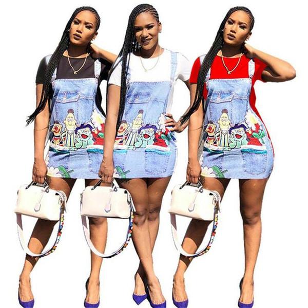 Dessin Animé Imprimer Casual T Shirt Dress Femme Eté 2019 Col Rond Manches Courtes Robe Courte Streetwear Dames Bandage Dress NZK-1770