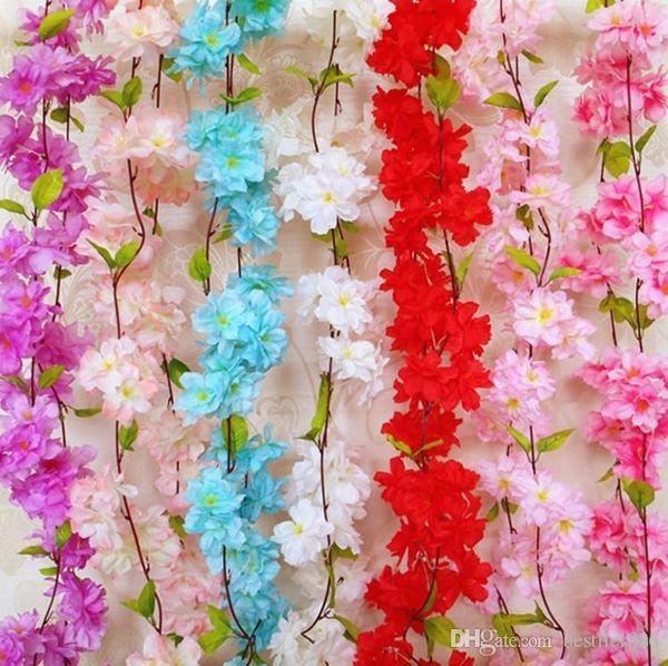 Вишни в цвету Rattan Sakura Свадебные арки украшения Vine Искусственные цветы партии Шелковый Ivy стены вися Garland Венок