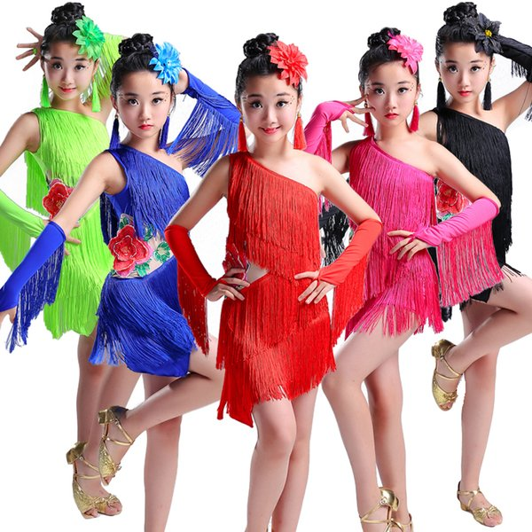 tassel child children professional latin dance dress for girls ballroom dancing dresses kids fringe salsa spandex cha cha samba