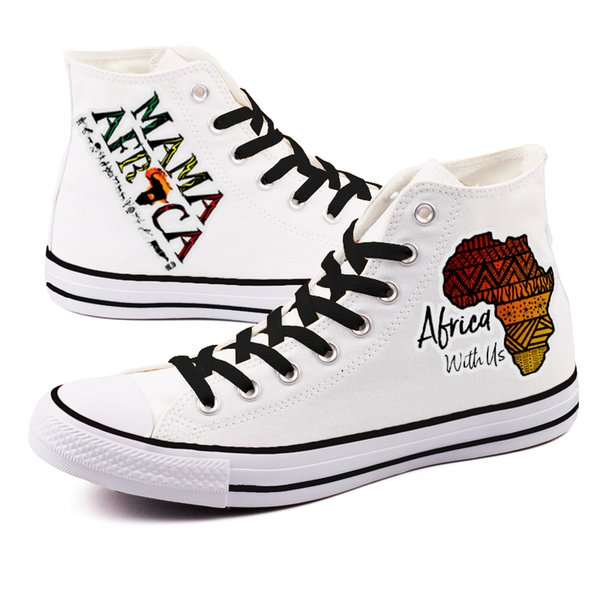 High Top Beauty African Print Canvas Shoes Adult Espadrilles Unique Africa Map Graffiti Couple Lovers Flats Tenis Shoes For Gift