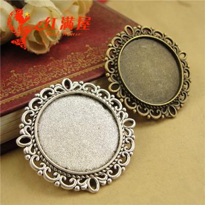 A4159 37*37MM Fit 25MM Antique Bronze round cameo setting, tibetan silver metal stamping blank base, jewelry making tray pendant bezel