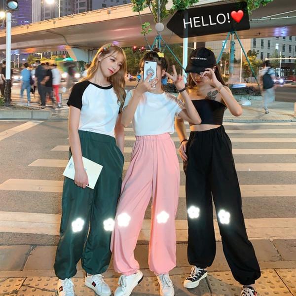 Mulheres e homens sweatpants designer A nova versão coreana do INS Harajuku Reflective Flower Pants em 2019 HOMEM