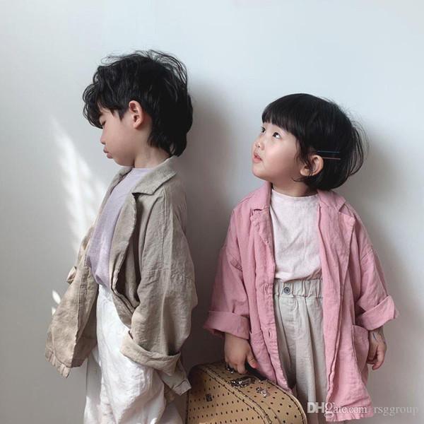 Newest Spring INS Toddelr Kids Boys Blank Coat Vintage Front Buttons Desgins Cotton Autumn Windbreaker Children Girls Clothing Outwears Coat