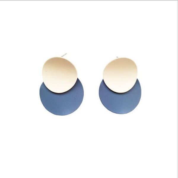 Korean Fashion Jewelry Frosted Geometric Round Contrast Color Stud Earrings for Teens Girl Women Charm Earings on Sale