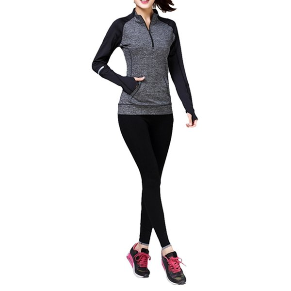 New Women\'s Fitness Running Yoga Top Zipper Stitching Long Sleeve Yoga Tops Seamless Sports Gym Tops Jacket #74471
