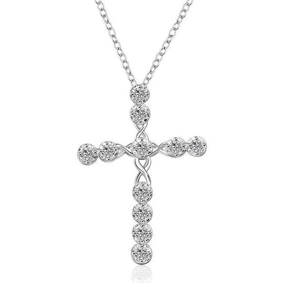 925 Sterling Silver Fashion CZ Diamond Crystal Crucifix Necklace Engagement Wedding Women Jewelry Charms Cross Necklace Crafts Accessories