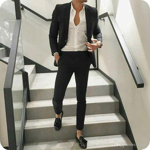 Handsame Black Men Suits for Wedding Groom Tuxedos Formal Business Man Blazer Pants 2Piece Custom Made Groomsmen Suit Slim Fit Costume Homme