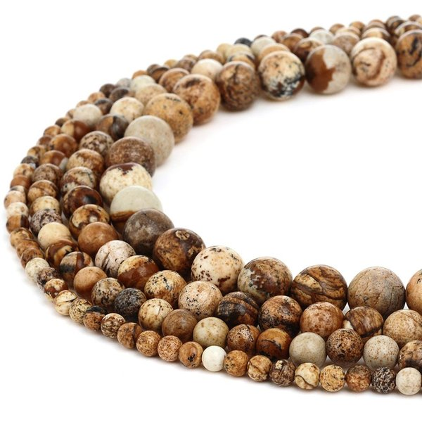 Natural Stone Beads Round Picture Jasper Gemstone Loose Beads for Women Bracelet DIY Jewelry Making 1 Strand 4 6 8 10mm
