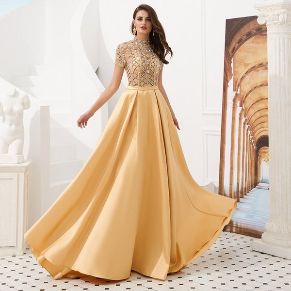 MAGGIEISAMAZING Wholesale REAL PICTURE high collar a line Exposed Boning floor length evening dress formal dress CYH02019F005
