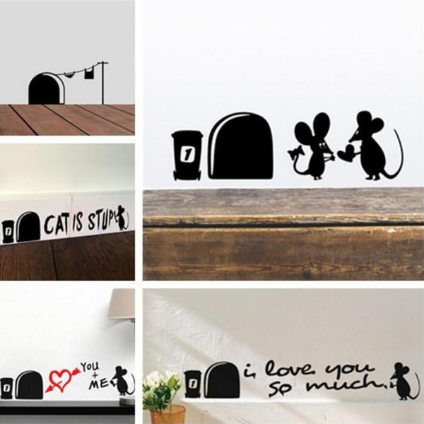Drôle Amour Souris Trou Stickers Muraux Pour Enfants Chambres Stickers Muraux vinyle Art Mural décoration Vintage Affiche