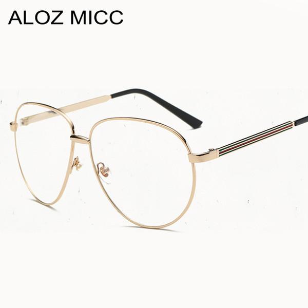 f55c5a2c72 ALOZ MICC Fashion Pilot Vintage Metal Frame Frames Women Men s Eyewear  Optical Frame Unisex Brand Glasses Clear Glasses A106