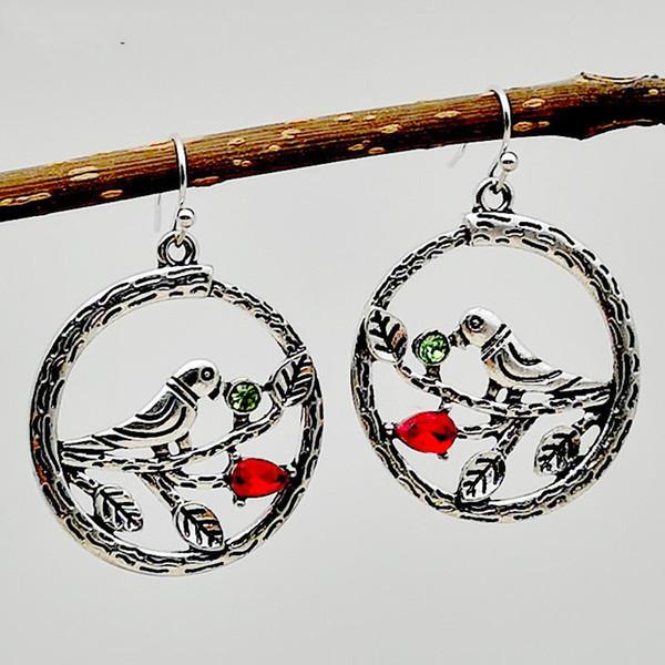 New Fashion Antique Silver Creative Hollow Branches Bird Hoop Earrings Red Green Crystal Hook Dangle Earearrings Women Ear Jewelry Wholesale