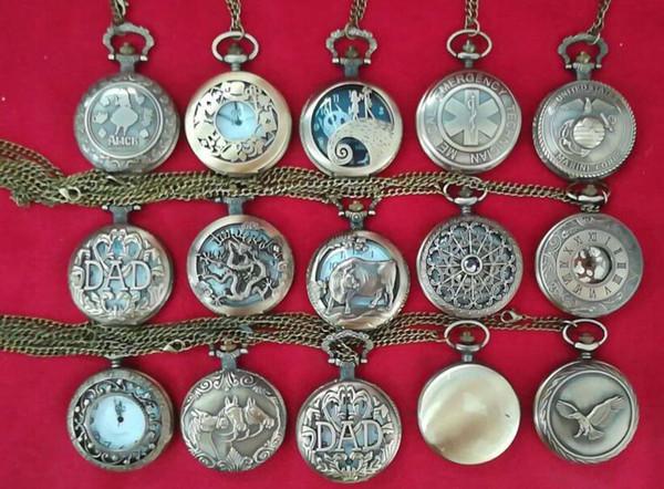 top popular Wholesale 100pcs lot Mix 15 Designs Quartz watches Chain Bronze Polished pocket watches PW130 2020
