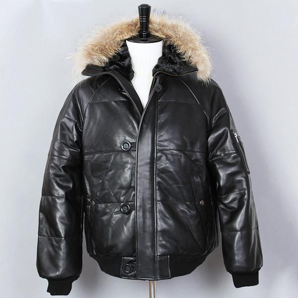 2018 de espessura de couro para baixo homens jaqueta de pele genuína com capuz jaqueta de inverno preto de pele de carneiro pato para baixo casaco de couro genuíno para o sexo masculino