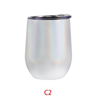 DHL SEND Rainbow Holographic Egg Shaped Stemless Tumbler Double Wall Stainless Steel Tumbler 12 OZ Wine Glass Portable with lids