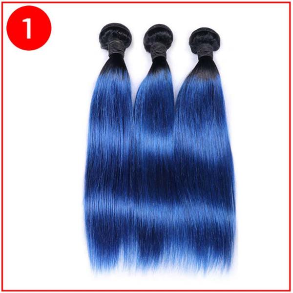 Ombre Örgü Saç Demeti Iki ton Renk ombre 1b mavi düz Işlenmemiş düz Brezilyalı Perulu Hint Ombre İnsan saç uzantıları