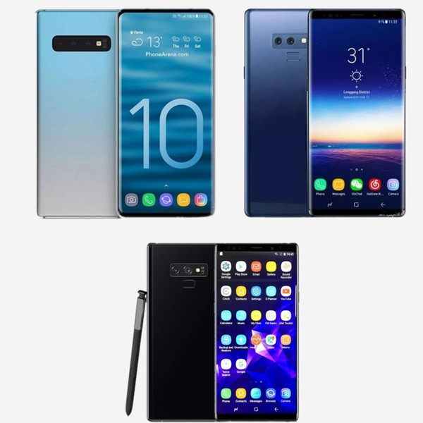 Free DHL Goophone S10 plus Note 9 Cell Phones unlocked phone quad core 6.5inch full Screen Show 128GB fake 4g lte android phone Sealed box