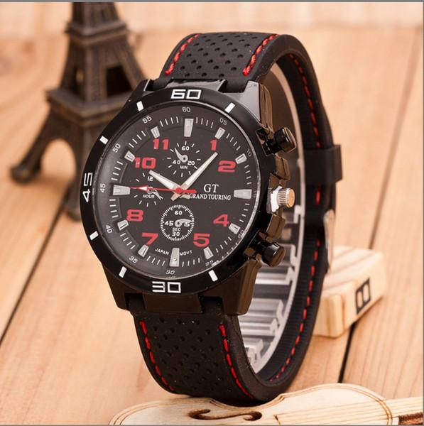 100 unids GT Grand Touring Hombres Relojes de Cuarzo Relojes Deportivos Hombre Silicona Correa de Reloj Banda de Reloj Reloj Militar Hombres Regalos de Navidad