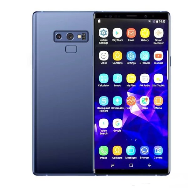Free DHL Goophone10 plus Note 9 Cell Phone quad core 1GBram 16GBrom 6.4inch full Screen Show 128GB fake 4g lte android Smartphone Sealed box