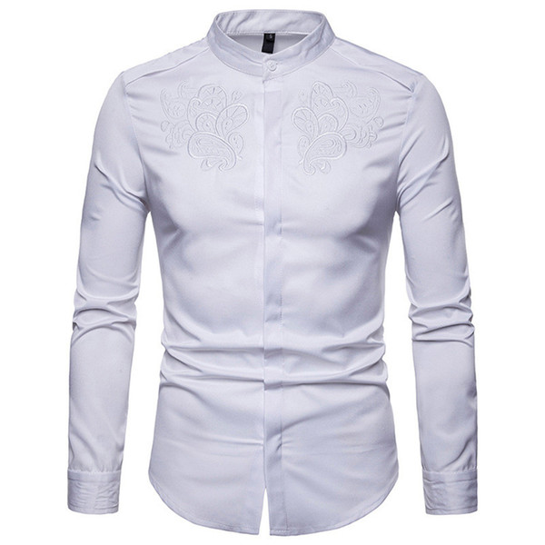 Gentleman Dinner Shirt Noble Embroidery Style Male Blouse Stand Collar 3XL Europe Man Slim Tops Covered Buttons Clothing Spring